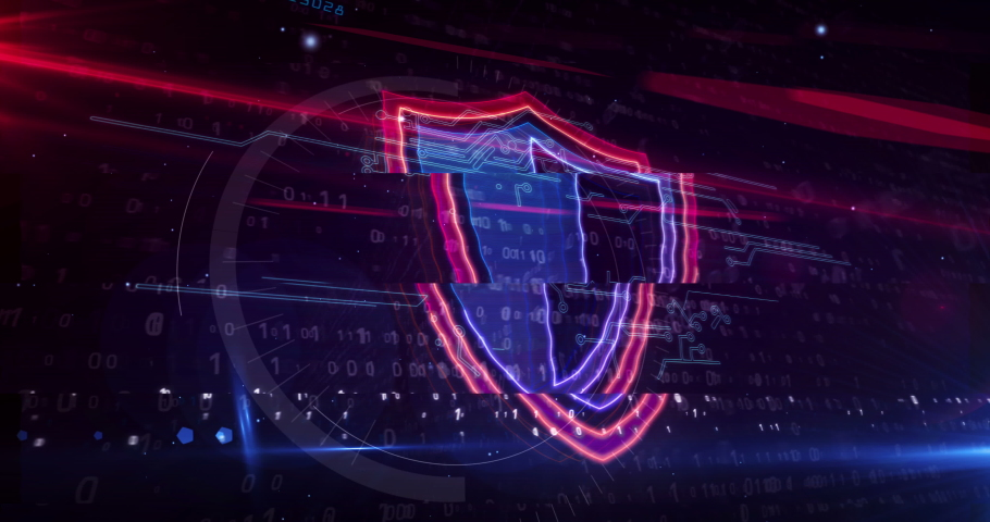 Cyber security concept with shield symbol, privacy protection and computer safety icon loop. Futuristic abstract 3d rendering loopable and seamless animation. | Shutterstock HD Video #1066077784