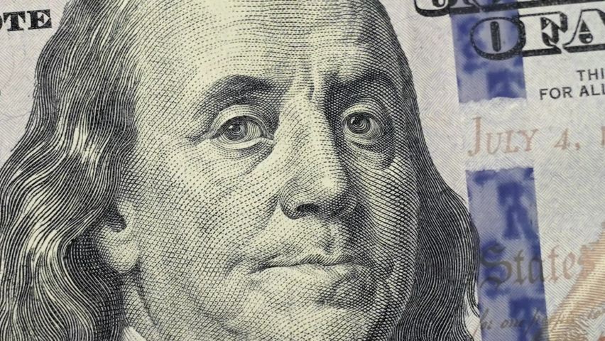 Closeup US 100 dollar stop motion animation and rotation. One Hundred american dollar bill macro, close up. 100 USD bill money background. USD currency cash. United States money fast moving  banknote  | Shutterstock HD Video #1066082833