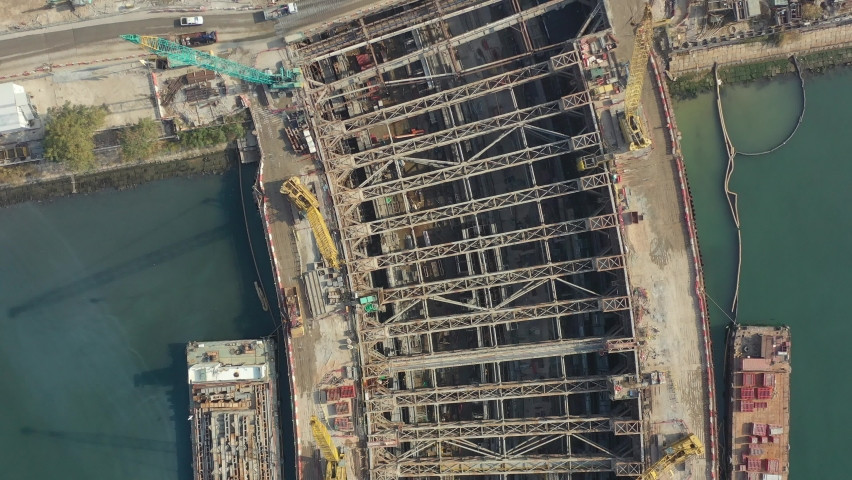 City under construction in aerial view | Shutterstock HD Video #1066105930