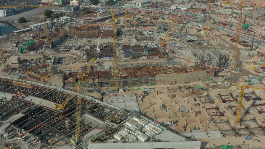 City under construction in aerial view | Shutterstock HD Video #1066105936