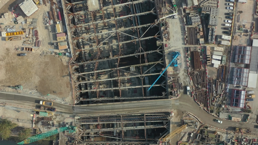 City under construction in aerial view | Shutterstock HD Video #1066105939
