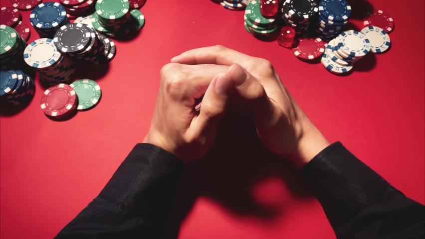 Casino. Poker. Game chips for betting in gambling. Poker chips. Royal Flush. | Shutterstock HD Video #1066117174