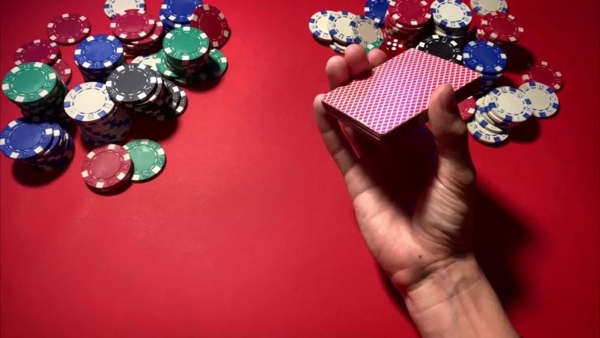 Casino. Poker. Game chips for betting in gambling. Poker chips. | Shutterstock HD Video #1066117177
