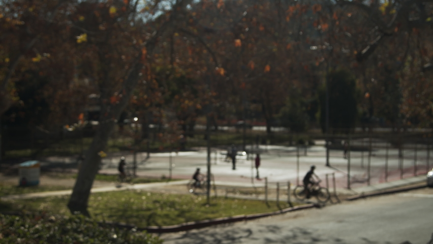 Tennis Los Angeles Park Fall trees nature Out of Focus | Shutterstock HD Video #1066136329
