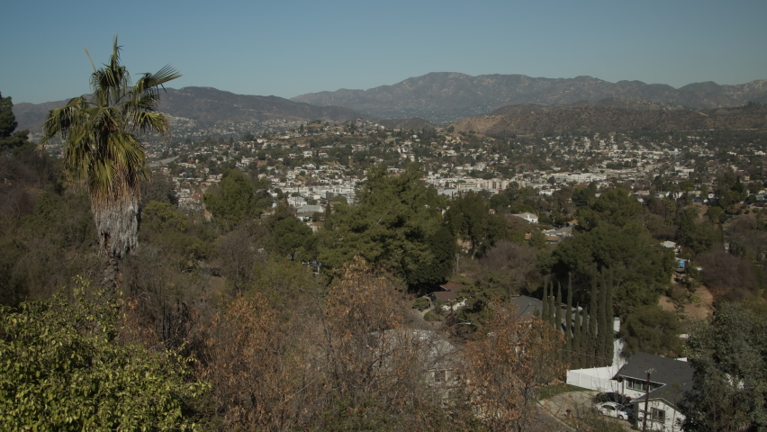 Los Angeles residential overlook Palm Tree Eagle Rock wide | Shutterstock HD Video #1066136347