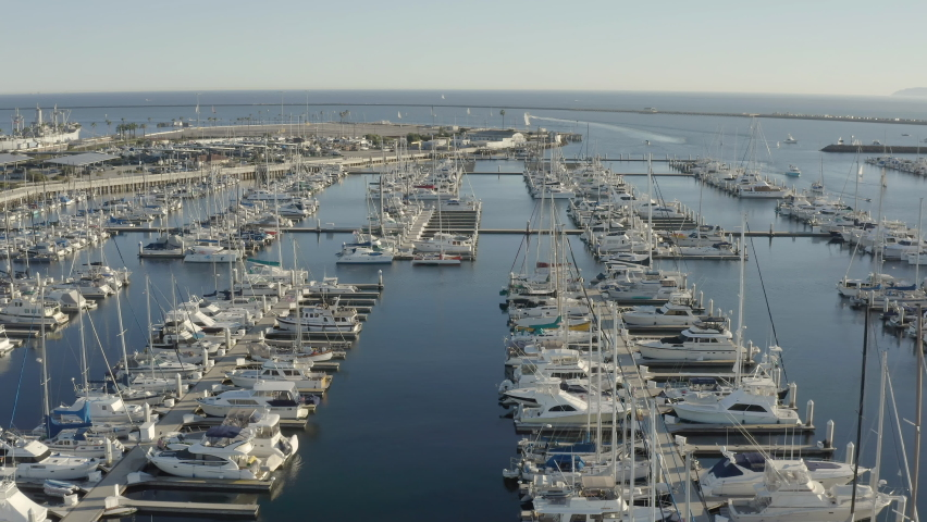 Aerial view of yachts and boats docked at the marina near Los Angeles California | Shutterstock HD Video #1066142278
