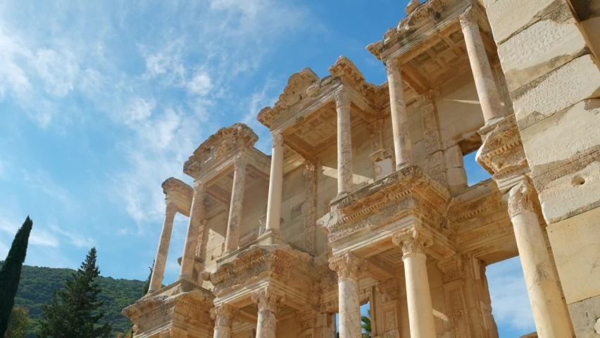 Celsus Library in ancient city Ephesus, Anatolia in Selcuk, Turkey. Slow motion steadicam shot Royalty-Free Stock Footage #1066150078