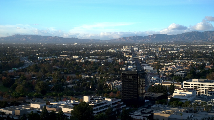 Time Lapse of Clouds Rolling Over Mountains and City, Afternoon Becomes Evening in Burbank, Blue Sky | Shutterstock HD Video #1066153126