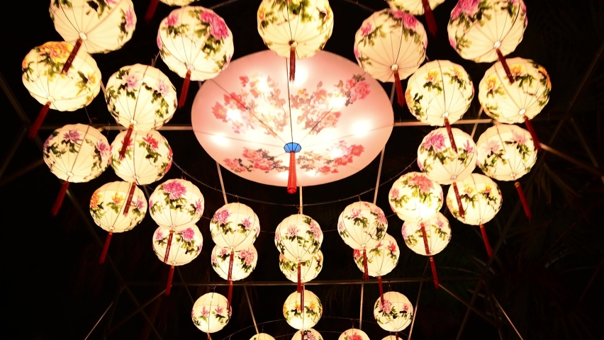 Splendid Chinese Folk Village Lantern show in Shenzhen of China | Shutterstock HD Video #1066165402