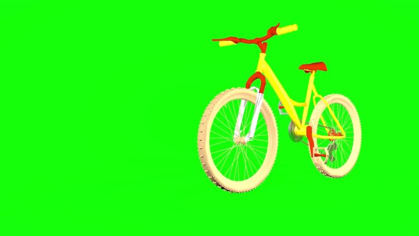 Bright bike, endless bike traffic. green screen. 3D rendering   Shutterstock HD Video #1066173529