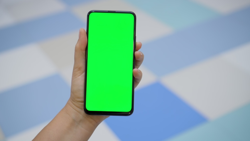 Back view of brunette holding chroma key green screen smartphone watching content.Shopping center. Department store. Mall. Shopping online. Gadgets and contemporary people concept.   Shutterstock HD Video #1066179682