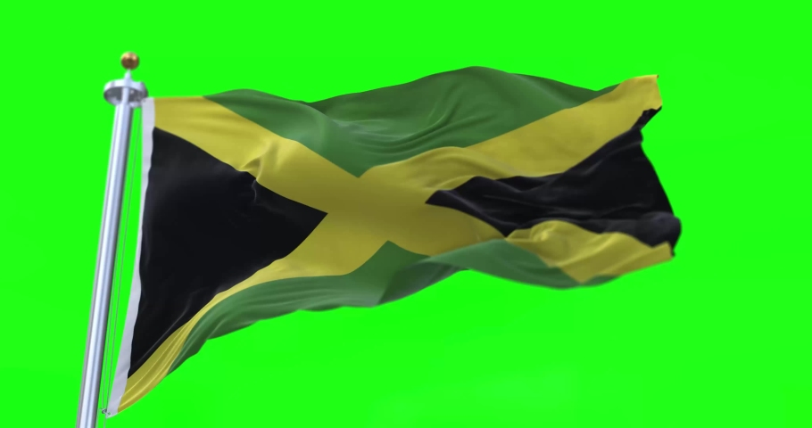 4K 3D Illustration of the waving flag on a pole of country Jamaica with Green Screen Chroma Key    Shutterstock HD Video #1066181254