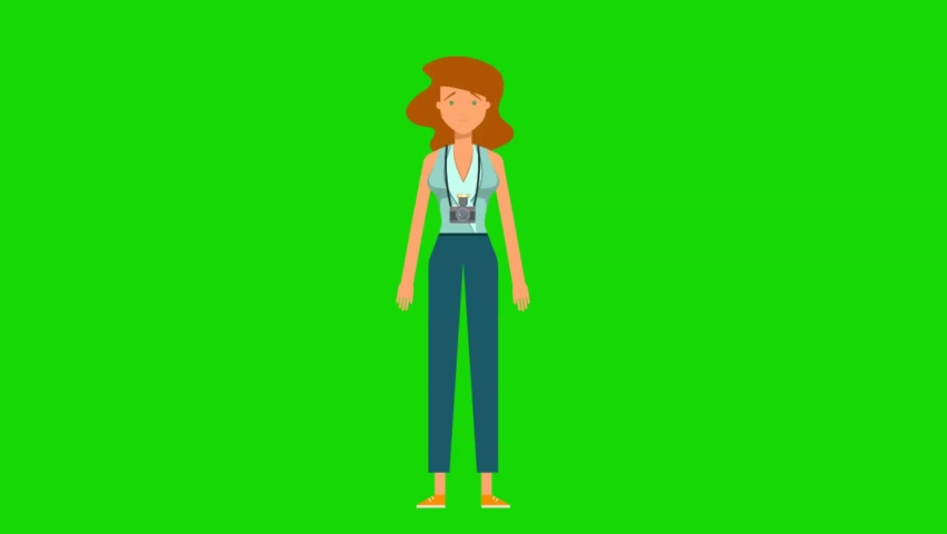 A journalist taking a picture from a camera. Journalist and Green screen for a video explainer.   Shutterstock HD Video #1066182337
