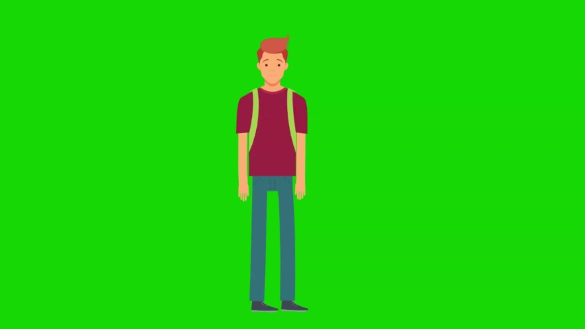 College boy walking happy. Green screen animation for video explainer.   Shutterstock HD Video #1066182907