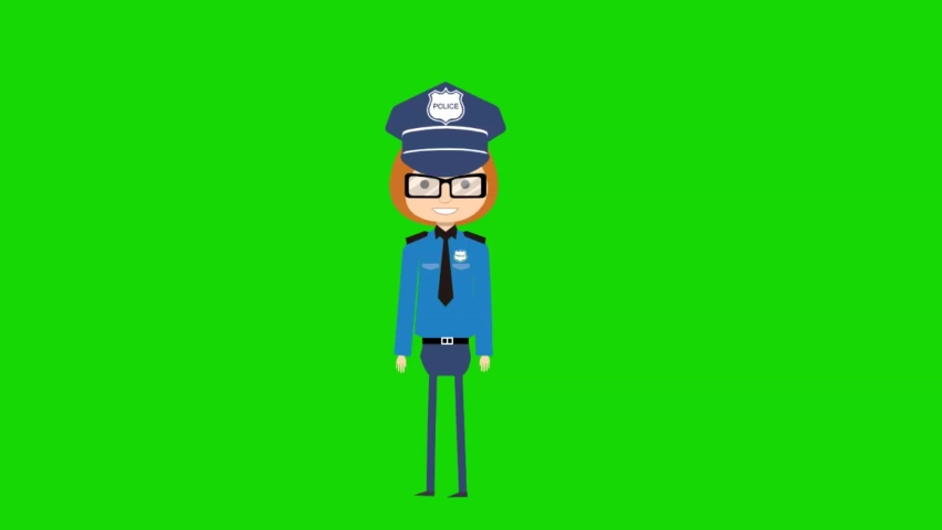 CHROMA KEY American policewoman officer walking against green screen.   Shutterstock HD Video #1066183333