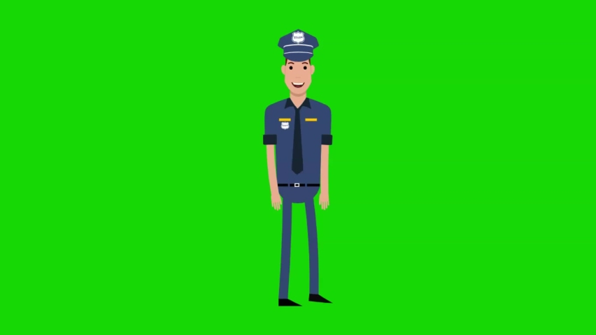 Police walking happy with green screen background.   Shutterstock HD Video #1066183471