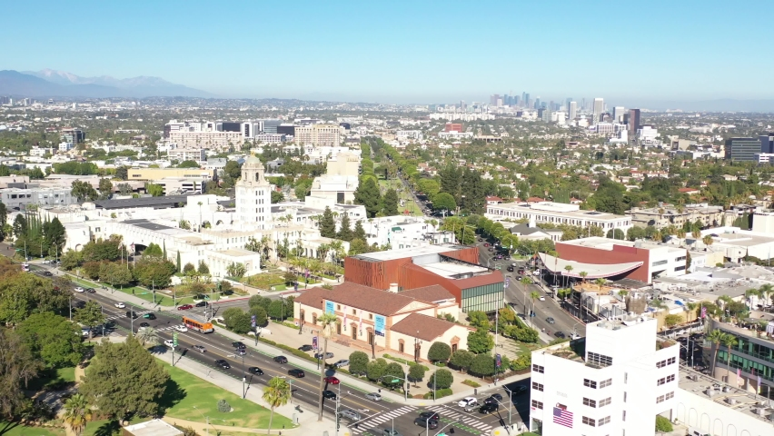 Flying Towards Los Angeles Downtown Skyline View | Shutterstock HD Video #1066183750