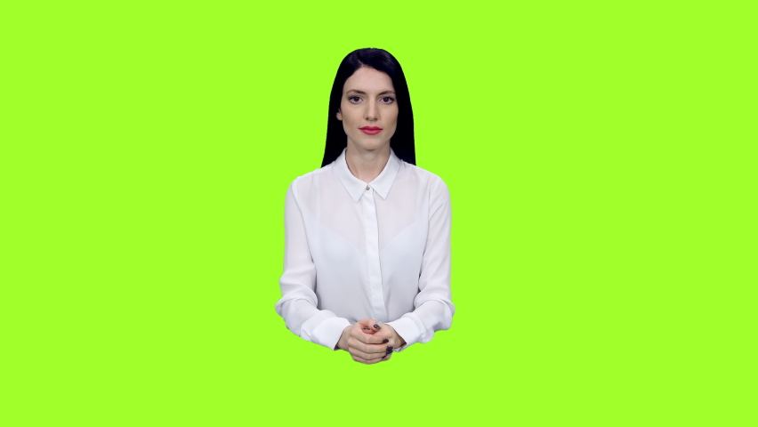 Stylish female news presenter reporting in tv studio against green screen background, Chroma key 4k pre-keyed footage   Shutterstock HD Video #1066185244