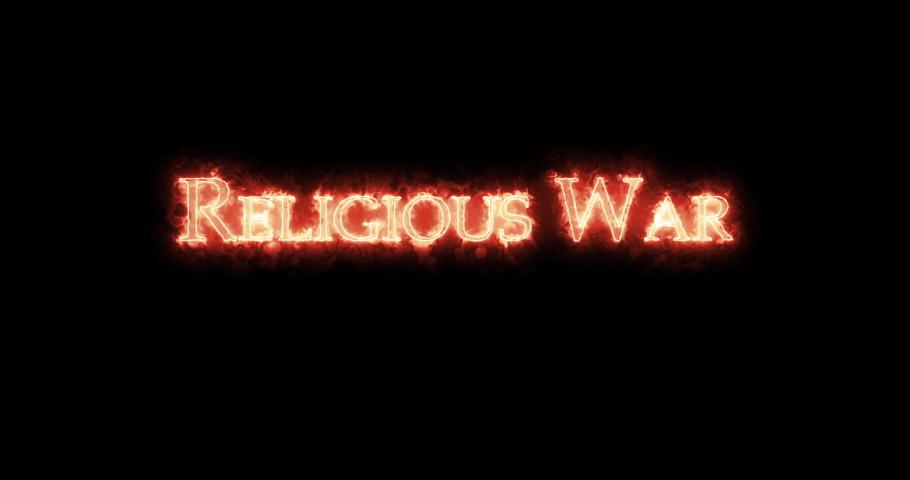 Religious war written with fire. Loop | Shutterstock HD Video #1066191805