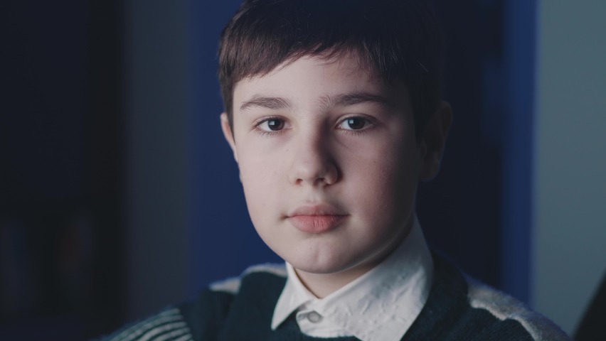 Close-up portrait of cute boy 13 years old looking at camera while sitting at computer laptop at home at nighttime. People, lifestyle and youth concept.   Shutterstock HD Video #1066194331