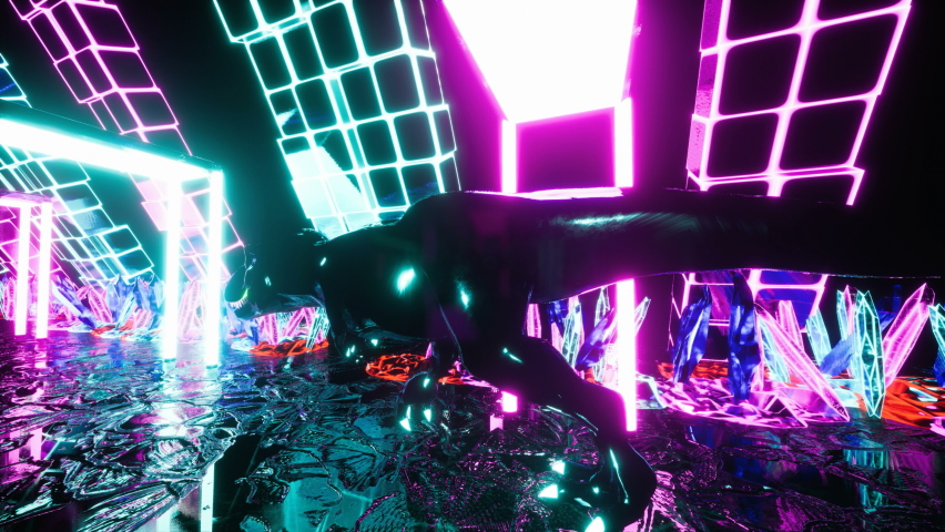 The dinosaur t-rex runs through the neon tunnel with crystals. Seamless loop animation tunnel of glowing crystals for vj, dj or sci-fi backgrounds. | Shutterstock HD Video #1066209949