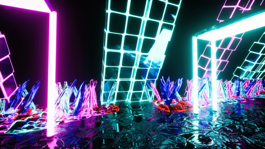 Camera fly through a glowing neon tunnel with crystals. Seamless loop animation of a tunnel made of glowing crystals for vj, dj or sci-fi backgrounds. | Shutterstock HD Video #1066209952