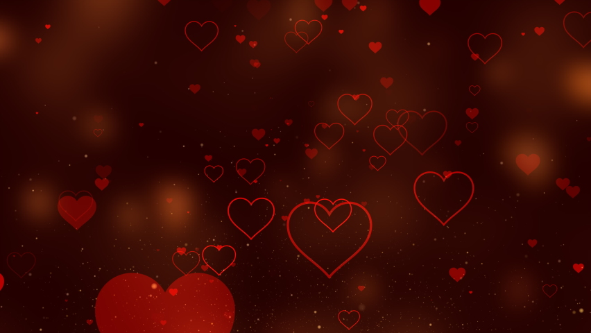 This standard motion graphic shows the movement of red hearts on a dark background with bright highlights. Romantic delicate colors create a background of love and romance. | Shutterstock HD Video #1066213597