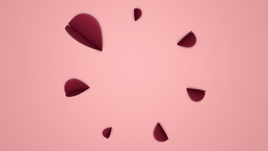 Greeting card with animated red hearts on pink background. 3d rendering, loop animation | Shutterstock HD Video #1066240384