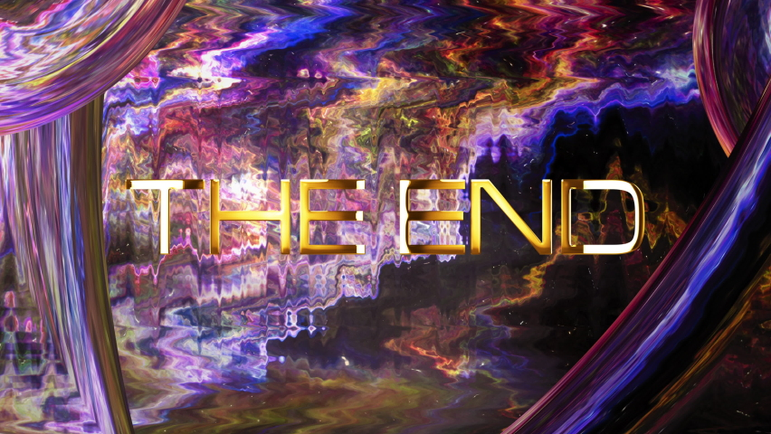 The End cinematic trailer title. The end golden text with abstract science technology, grunge Sci-Fi energy frame background concept. 4K 3D seamless loop Ending cover for title trailer. | Shutterstock HD Video #1066243327