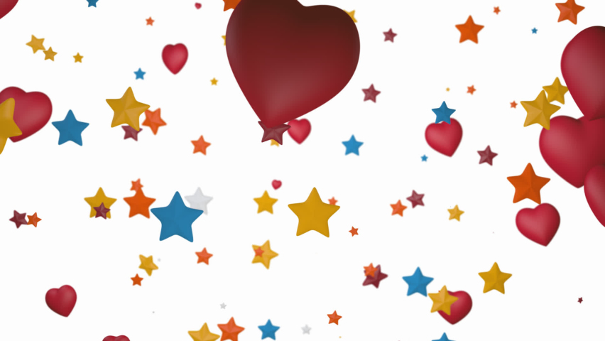 Animated flying colorful stars and hearts. 3d rendering, depth of field, alpha channel | Shutterstock HD Video #1066243678