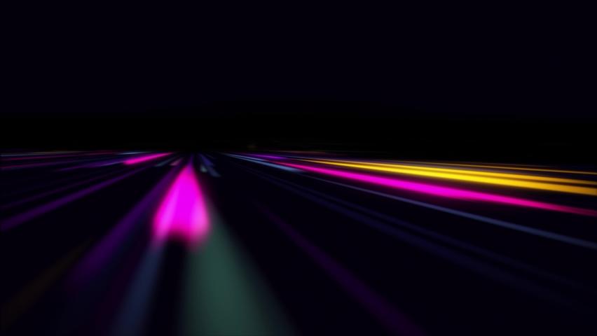 Super fast car night traffic lights. City life, urban scene, car light trails, transport and traffic concept. Long exposure, Travel concept, Science hyperspeed, warp speed. 3D render 4k loop animation | Shutterstock HD Video #1066248217