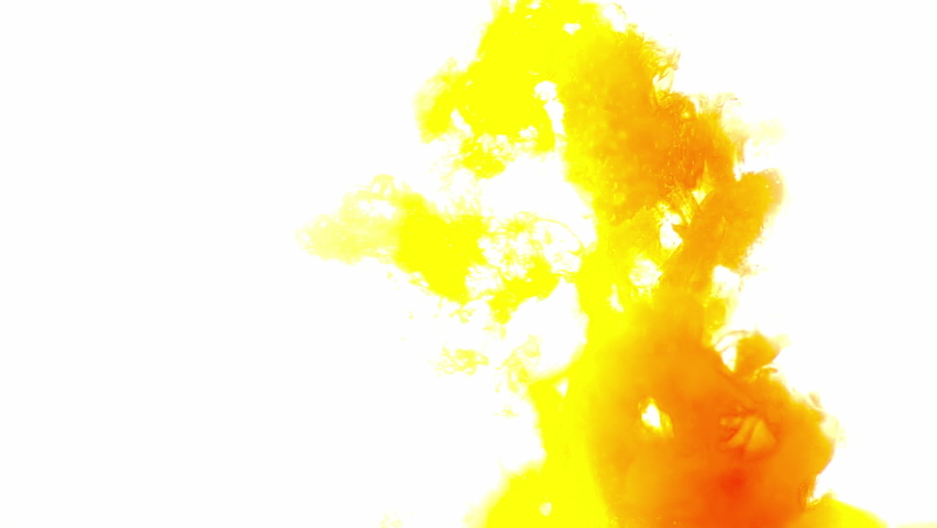 Strong glow: yellow, green and orange ink, dropping into water, creating clouds of colors.  | Shutterstock HD Video #1066260079