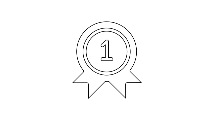 Black line Medal icon isolated on white background. Winner achievement sign. Award medal. 4K Video motion graphic animation | Shutterstock HD Video #1066261015