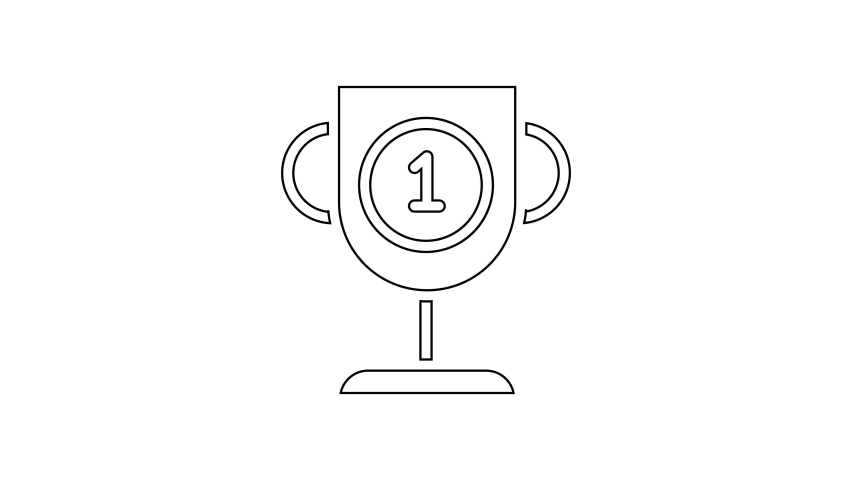 Black line Award cup icon isolated on white background. Winner trophy symbol. Championship or competition trophy. Sports achievement sign. 4K Video motion graphic animation | Shutterstock HD Video #1066261039