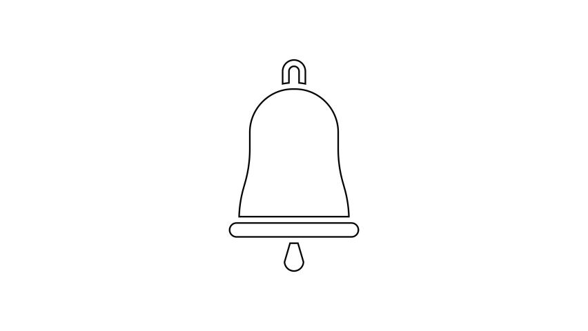 Black line Ringing bell icon isolated on white background. Alarm symbol, service bell, handbell sign, notification symbol. 4K Video motion graphic animation | Shutterstock HD Video #1066261060