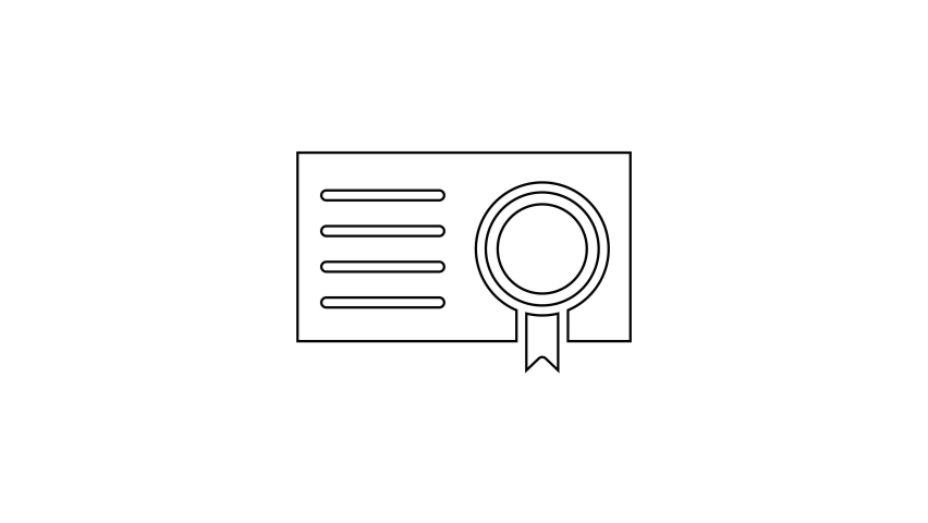Black line Certificate template icon isolated on white background. Achievement, award, degree, grant, diploma concepts. 4K Video motion graphic animation | Shutterstock HD Video #1066261081