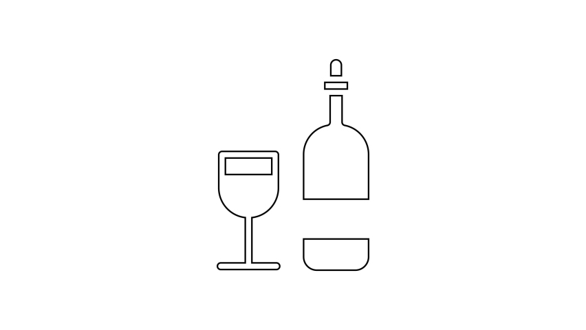 Black line Wine bottle with glass icon isolated on white background. 4K Video motion graphic animation | Shutterstock HD Video #1066261120