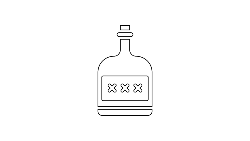 Black line Alcohol drink Rum bottle icon isolated on white background. 4K Video motion graphic animation | Shutterstock HD Video #1066261285