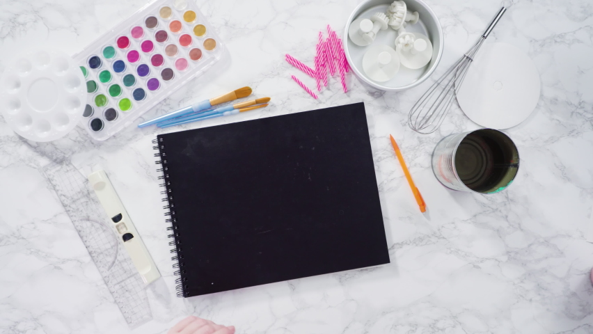 Time lapse. Flat lay. Baker is drawing the design of a birthday cake with watercolors. | Shutterstock HD Video #1066268938
