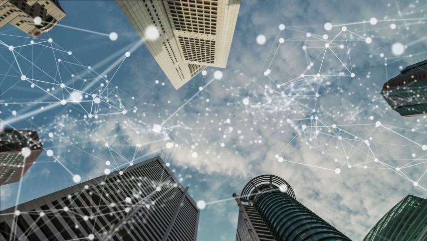 Imaginative visual of smart digital city with globalization abstract graphic showing connection network . Concept of future 5G smart wireless digital city and social media networking systems . Royalty-Free Stock Footage #1066280731