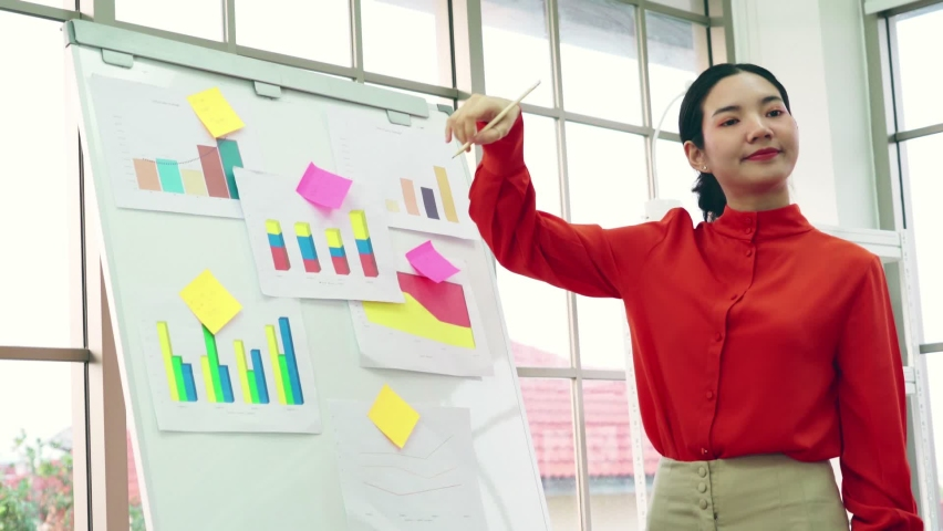 Young woman explains business data on white board in casual office room . The confident Asian businesswoman reports information progress of a business project to partner to determine market strategy . | Shutterstock HD Video #1066280914
