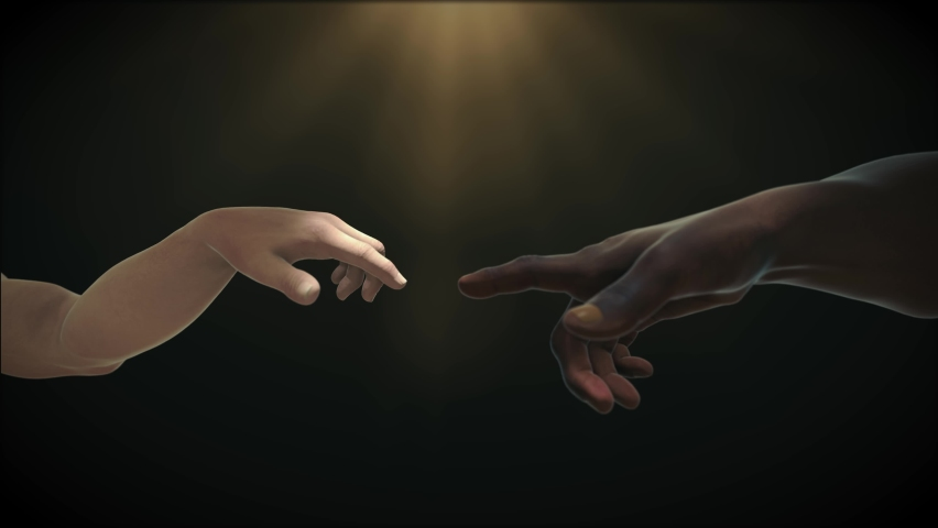 Rework in the style of Adam's creation, hand reach out to each other. Interracial relationship concept. People of different skin colors partnership friendship teamwork. 3D Animation Royalty-Free Stock Footage #1066303252