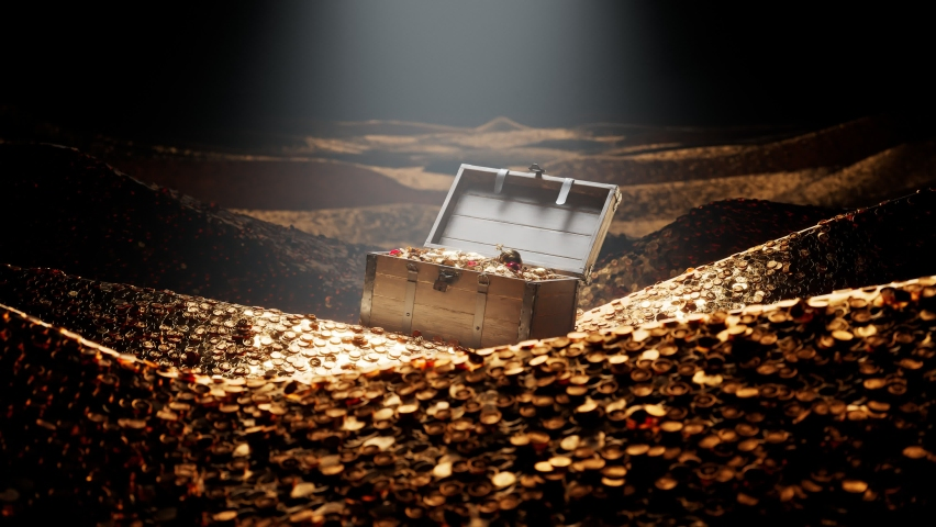 The open old wood chest full of golden coins, shiny jewellery and diamonds. A wooden box with valuables in a vault filled with gold. The precious trunk is full of gold. Mountains of gold. Treasury. | Shutterstock HD Video #1066382896