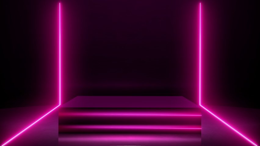 3D Rendering footage of square pedestal with copy space for product placement. Pink Neon light composition with line animation on an empty square pedestal or podium for presentation Royalty-Free Stock Footage #1066415374