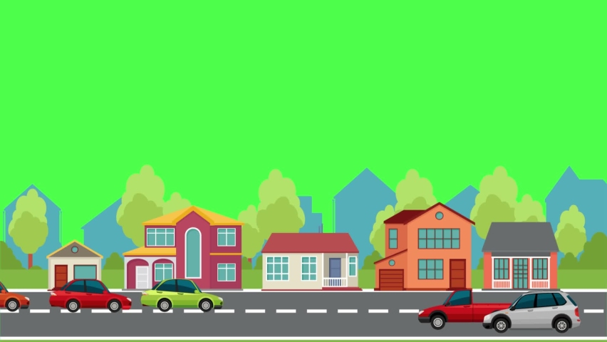 Buildings, trees, streets, and moving cars | Shutterstock HD Video #1066462678