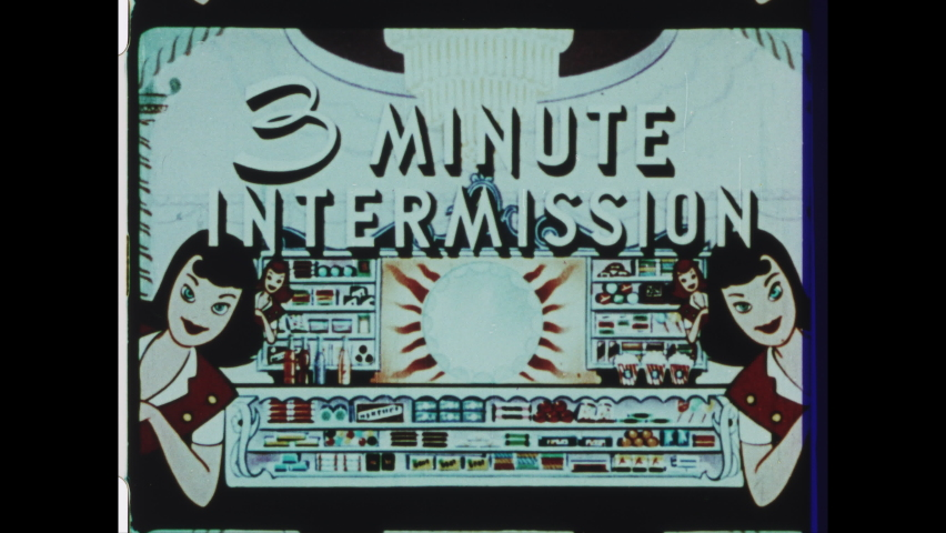 1950s NYC, NY. Drive-in Movie Theater Intermission Announcement. Animated Cartoon Snack Bar Items: Hot Dogs, Ice Cold Soda, Popsicles, Candy Bars, Coffee and Pop Corn. 4K Overscan of 16mm Film Print
