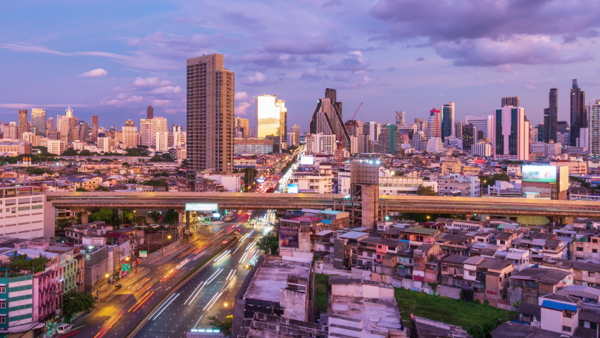 Bangkok business district city center and expressway during twilight, with buildings and skyscrapers, day to night - Time Lapse | Shutterstock HD Video #1066493908