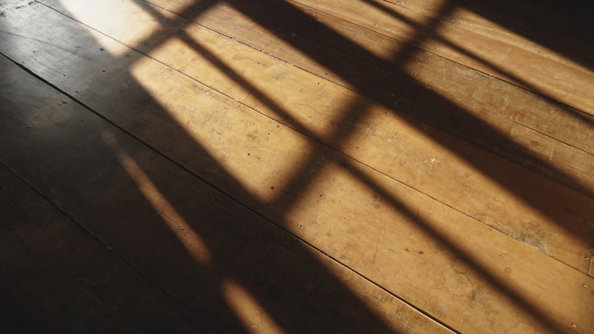 Timelapse of sunshine through windows with shadows on wooden floor old | Shutterstock HD Video #1066514086
