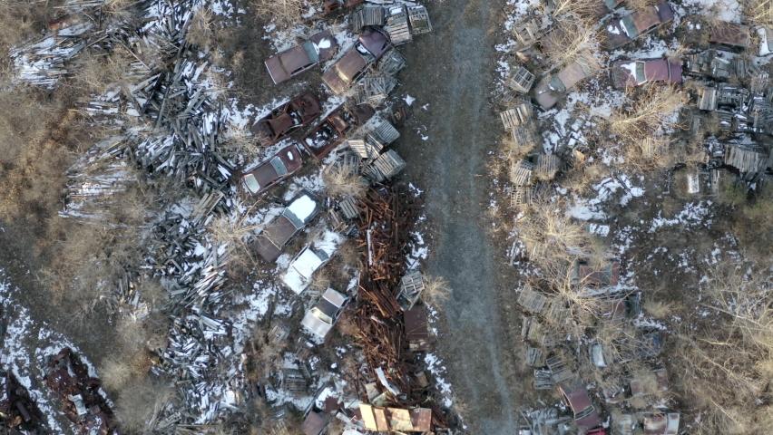 junkyard drone footage aerial shot