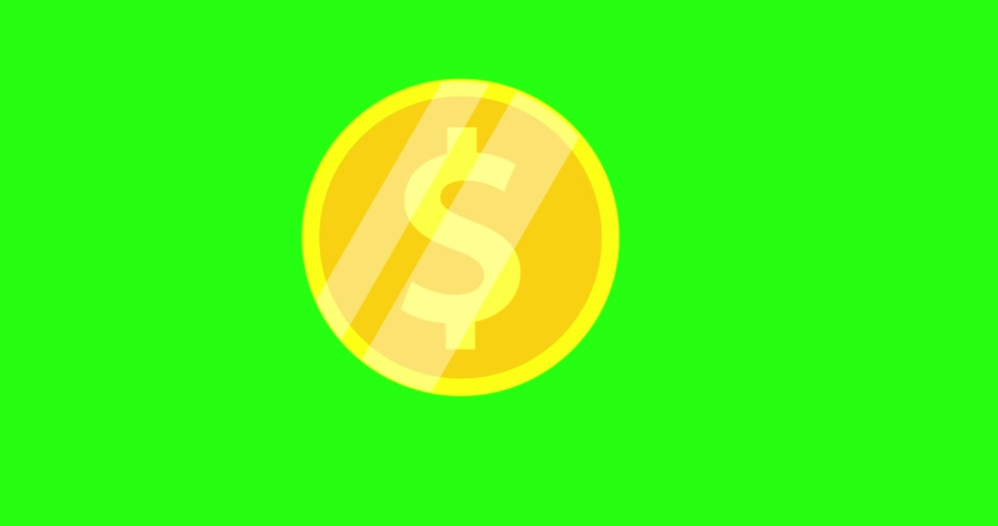Animated spinning gold coin on green screen. Excitement, luck, fortune. Flat  object animation. 360 degrees spinning coin. 4K Looped animation, 3D animation. Royalty-Free Stock Footage #1066633837